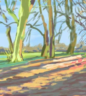 iPad art landscape, winter, afternoon, surrey, uk