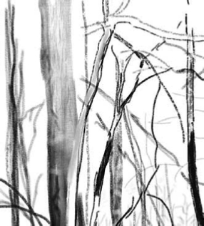 iPad art landscape, winter, iPad drawing 2013, black and white, iPad art for sale