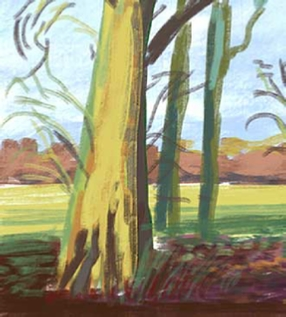 iPad art landscape, winter, evening, surrey, uk