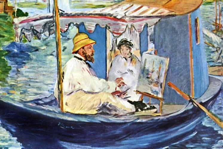 Manet painted Claude Monet (accompanied by his wife Camille) painting in his Studio Boat in the summer of 1874 at Gennevilliers.