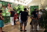 The Digital Garden, an exhibition collaboration of iPad drawings with augmented reality at Royal Horticultural Society Garden Wisley. Visitors looking at the installation of iPad drawings.