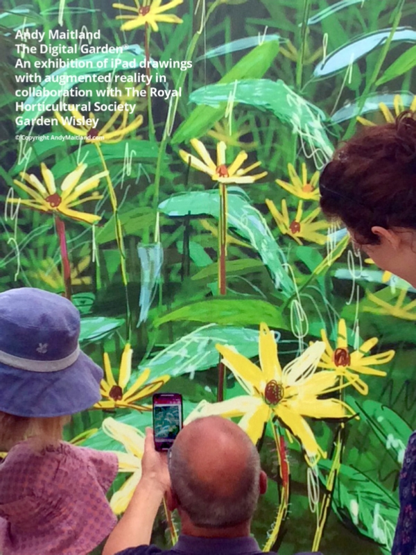 The Digital Garden, an exhibition of iPad drawings with augmented reality at RHS Garden Wisley.