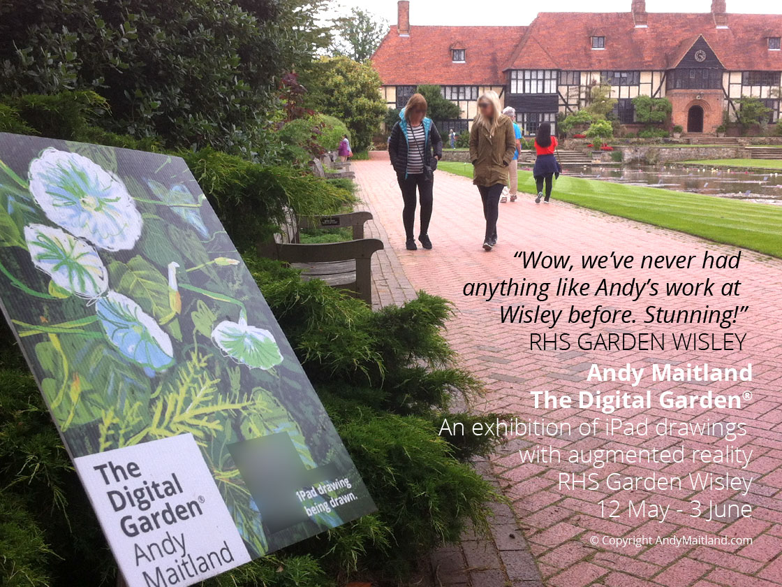 Outdoor artworks 'planted' in the garden at The Digital Garden, an exhibition of iPad drawings with augmented reality, in collaboration with RHS Garden Wisley.